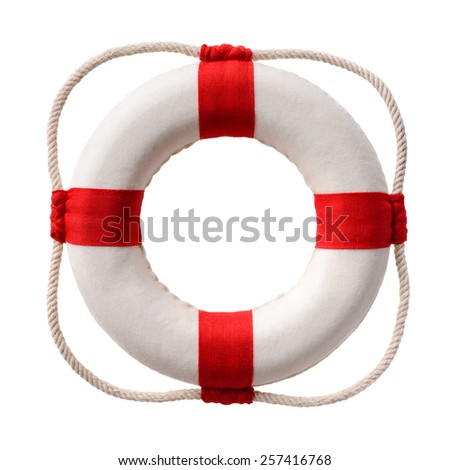 Isolated objects: white-red lifebuoy, isolated on white background - stock photo
