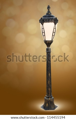Isolated  of an old street lamppost - stock photo