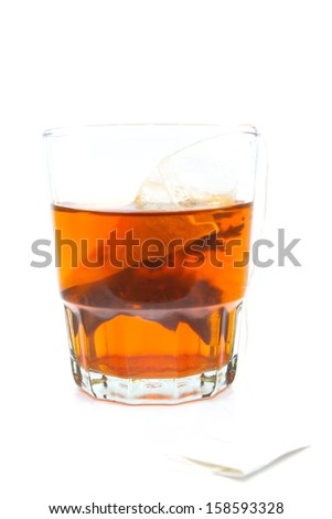 Isolated of glass of hot Chinese tea