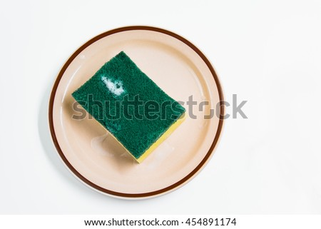 Isolated of household cleaning sponge use to wash dish - stock photo