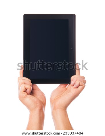 Isolated of male hand holding a touchpad pc - tablet - stock photo
