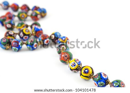 isolated of murano glass colourful necklace - stock photo