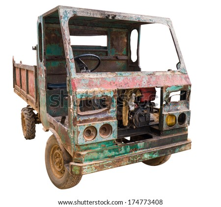 Isolated of old rusty truck with clipping path - stock photo