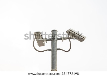 Isolated of Outdoor CCTV Camera on the pole - stock photo