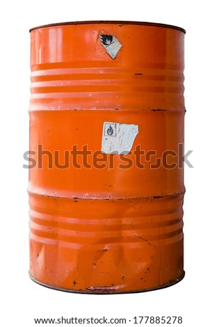 Isolated Oil Drum Or Barrel Of hazardous Waste WIth Warning Labels - stock photo