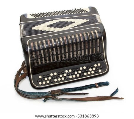 isolated old accordion