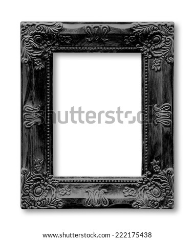 Isolated old black picture frame - stock photo