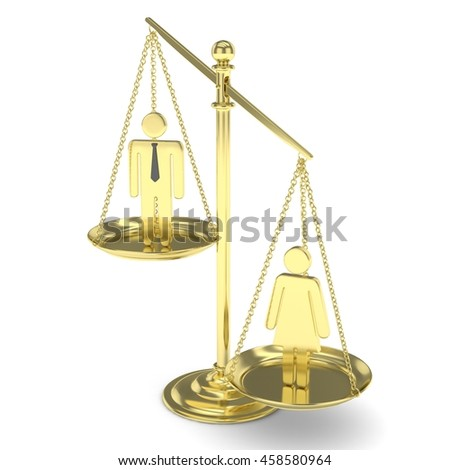 Isolated old fashioned golden pan scale with man and woman on white background. Gender inequality. Equality of sexes. Law issues. Silver model. 3D rendering. - stock photo