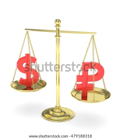 Isolated old fashioned pan scale with dollar and ruble on white background. American and russian currency. Currency equality. Red money. 3D rendering.