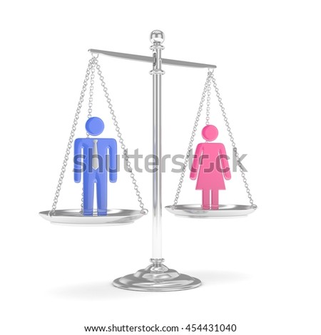 Isolated old fashioned pan scale with man and woman on white background. Gender inequality. Equality of sexes. Law issues. Colorful model. 3D rendering. - stock photo