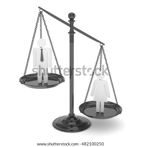 Isolated old fashioned pan scale with man and woman on white background. Gender inequality. Female is heavier. Law issues. Silver model. 3D rendering.