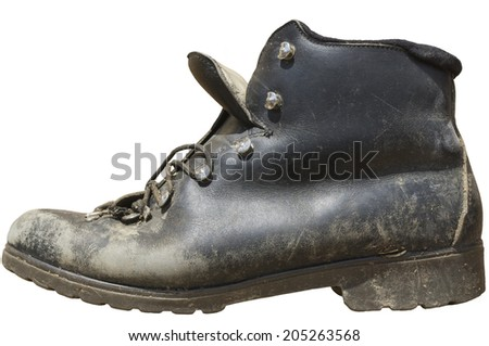 Isolated old hiking boot on white background - stock photo