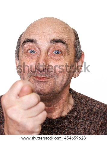 isolated old man with a grimace on his face and fico gesture