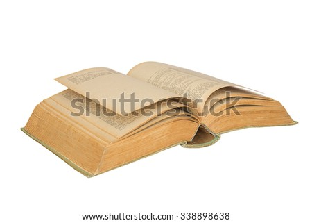 Isolated old open book on white background.Old open book. - stock photo