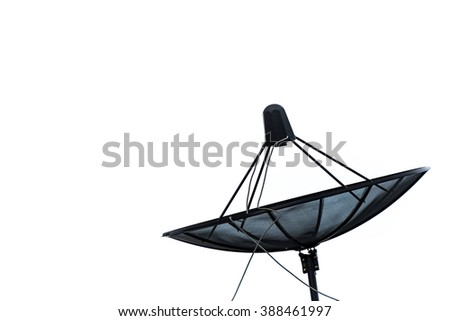 isolated old or used satellite dish on the white background