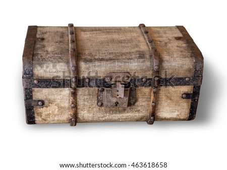 isolated old trunk on white background with clipping path