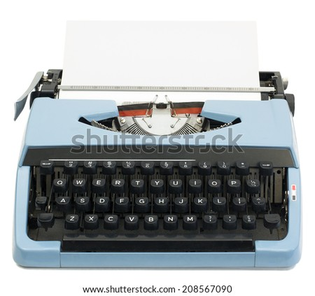 isolated old typewriter - stock photo