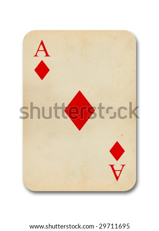 isolated old vintage aces card - stock photo