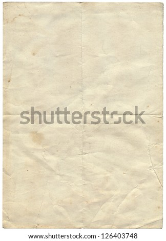 Isolated old vintage folded torn paper. - stock photo