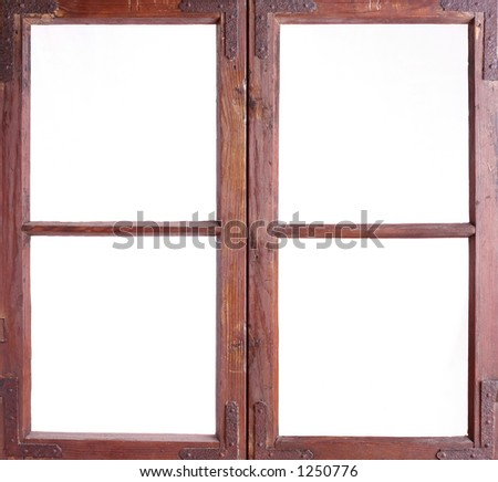 Isolated old window frame - stock photo