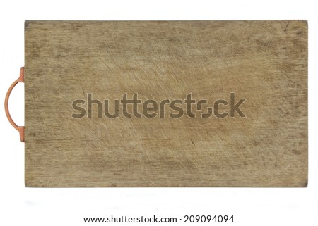 Isolated  Old Wooden Cutting Board Covered by Cutting Marks With A Plastic Handle - stock photo