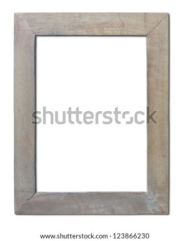 Isolated old wooden frame which is made  of hand crafts. - stock photo