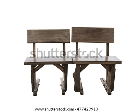 Isolated old wooden tables on white with clipping path