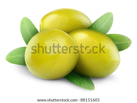 Isolated olives. Three green olive fruits over leaves isolated on white background