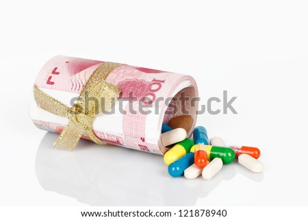 isolated on a white background, medication costs - stock photo