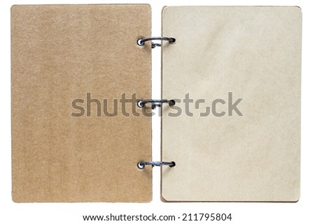 isolated on a white background open notebook with paper sheets of pages brown color and binder metal rings - stock photo