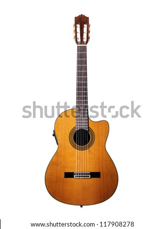 Isolated on white acoustic guitar - stock photo