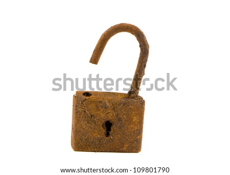 isolated on white ancient and rusted lock