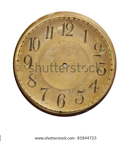 isolated on white and grunge vintage brass clock-face - stock photo