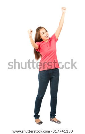 Isolated on white background full length profile of a beautiful Asian woman wearing casual clothes, eyes closed, fists and arms raised in the air celebrating victorious win or successful achievement