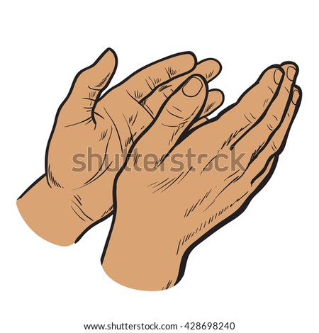 Isolated on white background hands clap their palms, the two men's hands, sketch style drawn, cherntsy contour of human hands, applause, bravo, joy, success - stock photo