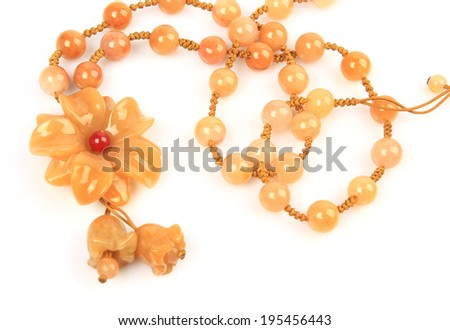 Isolated on white background jade necklace