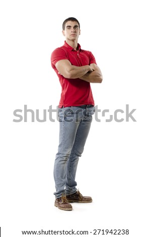 Isolated on white background man posing with crossed arms - stock photo