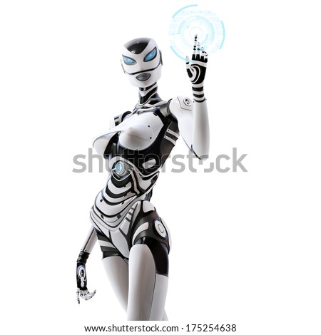 Isolated on white background. Modern designed robotic SCI-FI scene. Futuristic female android managing virtual interface in digital space - stock photo