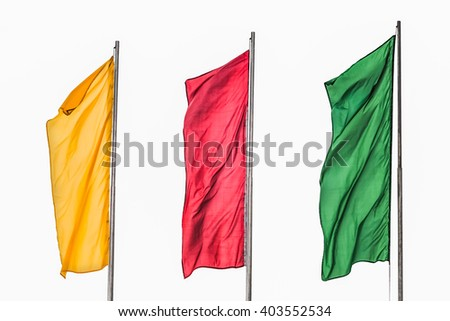 Isolated on white background. Three flag yellow red green - stock photo
