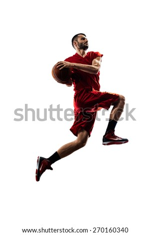 Isolated on white basketball player in action is flying high  - stock photo