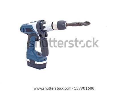 Isolated on white battery powered drilling machine with drill bit - stock photo