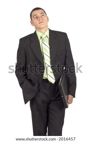 isolated on white businessman with notebook - waiting - stock photo