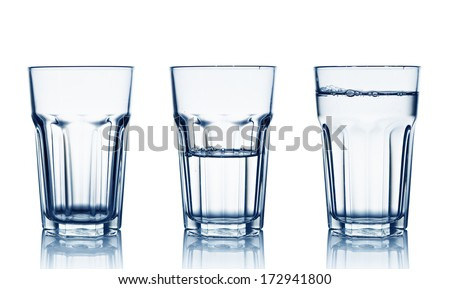 Isolated on white empty, half and full water glasses  - stock photo