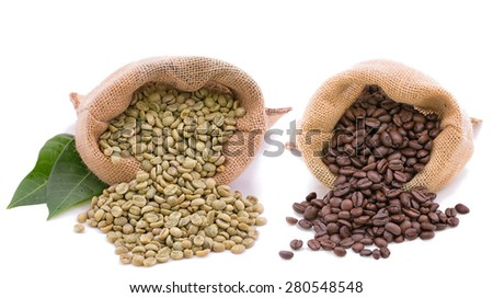 Isolated on white for coffee bean and cofee after roasted and reade to eat. - stock photo