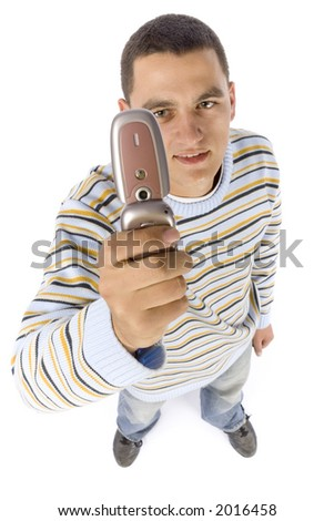 isolated on white headshot of young man with mobile phone - stock photo