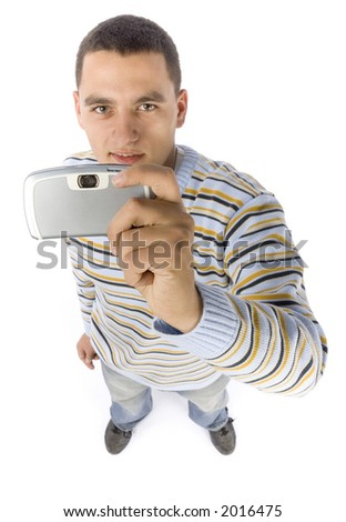 isolated on white headshot of young man with palmtop / mobile phone - stock photo