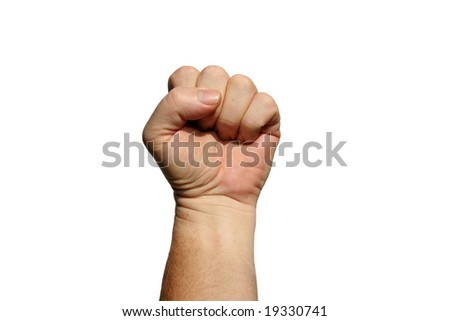 isolated on white human hand displaying a Power Fist