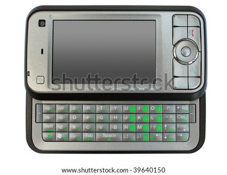 Isolated on white modern mobile phone with keyboard - stock photo