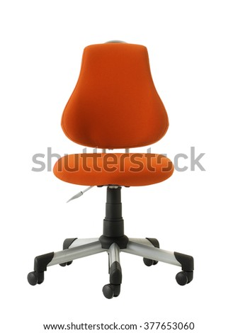 isolated on white orange office chair - stock photo