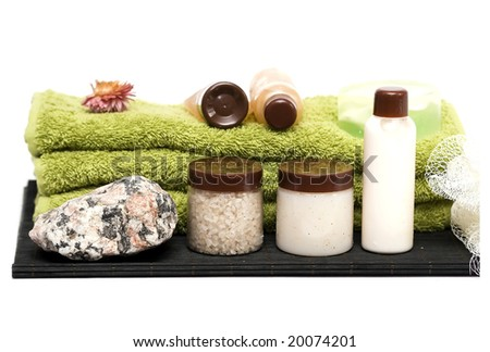 isolated on white spa elements, towels and rock - stock photo